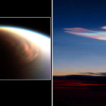 Methane polar clouds of Titan (left) compared with water/ice polar clouds on Earth (right), http://www.nasa.gov/sites/default/files/thumbnails/image/titan-earth-polar-clouds-lg.jpg
