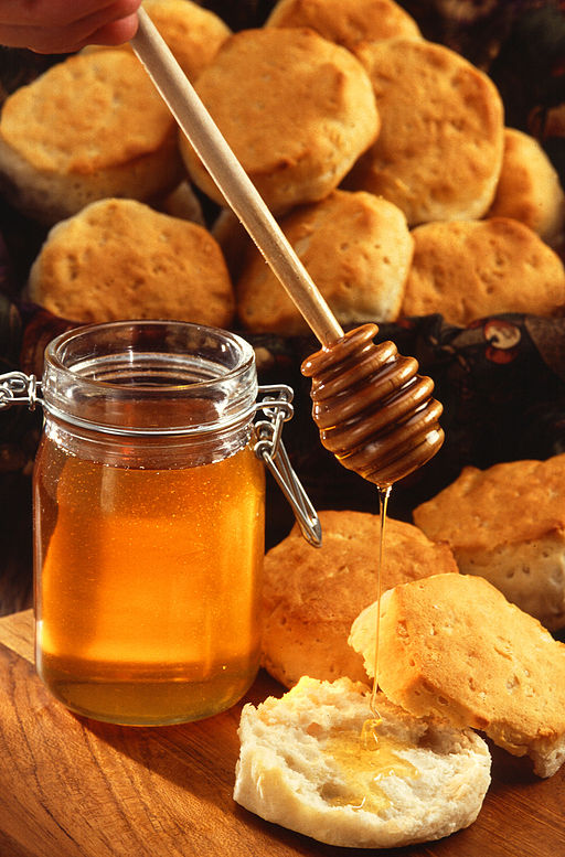 Honey - high in glucose, oxidized for energy by most life on earth, from   bacteria to humans.  Image: public domain, available at http://commons.wikimedia.org/wiki/File:Runny_hunny.jpg