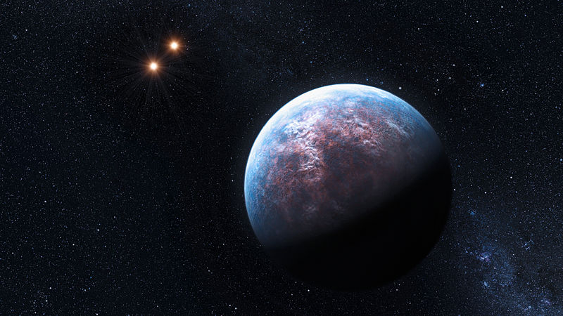 An Artist's hypothetical impression of suspected exoplanet Gliese 667 Cb with the the stars Gliese 667 A and Gliese 667 B in the background. Source: http://www.eso.org/public/images/eso0939a/, Image Credit: Credit: ESO/L. Calçada.